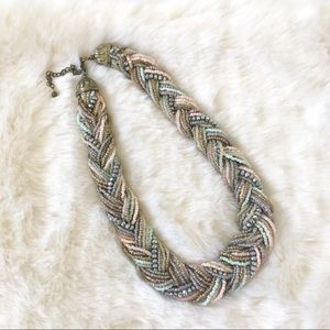 Braided Beaded Necklace in Muted Tones